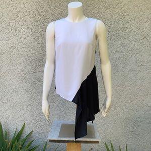 Nicole Miller White Black Asymmetrical Blouse 👚